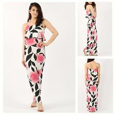 WOMENS LADIES STRETCH SLEEVELESS FLORAL PRINT FRILL DETAIL CAMI LONG MAXI DRESS