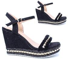 Ladies High Wedge Studded Espadrilles Ankle Strap Platform Peep Toe Sandals Size