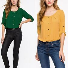 Moda Mujer Lady Loose Long Sleeve Chiffon Casual Blouse Shirt Tops Blouse Nuevo