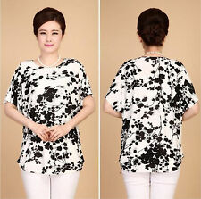 Women Black Floral Printed Chiffon Top T  Shirt Blouse Loose Short Sleeve Blouse