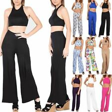 Womens Ladies Halter Neck Crop Top Wide Legs Palazzo Bralet Trousers Co-Ord Sets