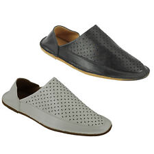Mens Faux Leather Moroccan Babouche Slippers Folded Back Slide Shoes Black White
