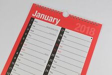 2018 A4 'MONTHLY' SPIRAL BOUND HANGABLE TABLET, PLANNER & CALENDAR. TWIN WIRO.
