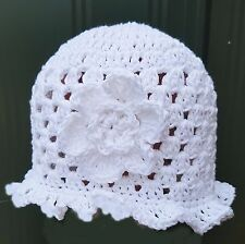 HAND CROCHETED BABY GIRL SUN HAT 0-2 YEAR OLD shower gift 100% cotton white anny
