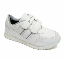 CHILDRENS FLAT WHITE TRAINERS BOYS SCHOOL KIDS VELCRO SHOES PLIMSOLL PUMPS 12-3