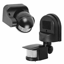 Outside Automatic PIR Motion Sensor Switch For Outdoor Security Wall Light Black