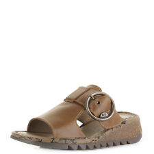 Womens Fly London Tute Rug Camel Low Wedge Mule Leather Sandals Shoes Size