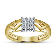 18K Gold Plated 925 Silver White Round Cut CZ Luxurious  Ring For Men's