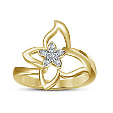 14K Gold Plated 925 sterling Silver White RD CZ Women's Beautiful Flower Ring