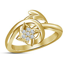 14K Gold Plated 925 Sterling Silver Round Cut White CZ Women's Attractive Ring