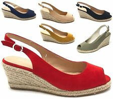 LADIES HIGH WEDGE ESPADRILLES ANKLE STRAP PEEP TOE STRAPPY CUT OUT SANDALS SIZE