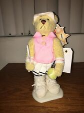 Plush Brass Button Sports Bear Tennis Missy Stand Visor Ball Racquet NWT