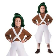 Rubies bambini ufficiale Willy Wonka CIOCCOLATO Factory Oompa Costume O PARRUCCA