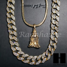 "Iced out 14k Gold PT Buddha 5mm Miami Cuban Chain /30"" Iced Out Chain Necklace 1"