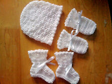 Handmade Crocheted Baby Unisex Hat/Mitts/Bootees+shell picot  Acrylic Asstd cols