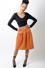 Womens Stylish Low Rise Waist Midi Pleated Detail Faux Leather Skater Skirt