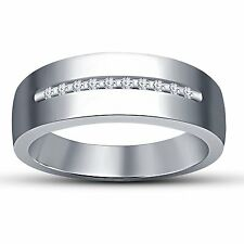 Platinum Plated 925 Sterling Silver Fancy Men's Engagement Band Ring