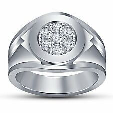 925 sterling silver platinum plated cubic zirconia Engagement ring for Men's