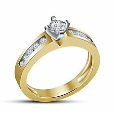 Stunning 14K Gold Plated 925 Sterling silver Cz Round Engagement Ring For Women