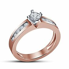 Best Engagement Ring 14K Rose Gold Plated 925 Sterling Silver CZ For Girls