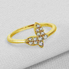 14K Yellow Gold Plated 925 Silver Round Cut CZ Butterfly Style Engagement Ring