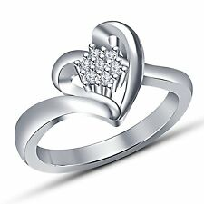 white platinum plated 925 sterling silver round cut cubic zirconia in heart ring