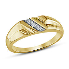 14K gold plated 925 sterling silver Beautiful Round White CZ Mens Wedding Ring