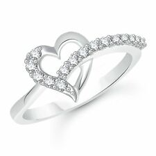 925 Sterling Silver Heart 14k White Gold Plated Round Cut CZ Engagement Ring