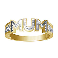 """925 Sterling Silver 14K Yellow Gold Plated Round CZ""""MOM"""" Mothers Special Ring"""