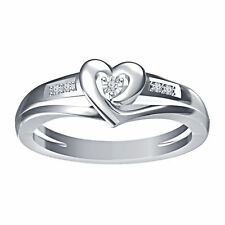 925 Sterling Silver 14K White Gold Plated Heart Shape Round CZ Engagement Ring