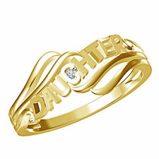 """925 Sterling Silver 14k Gold Plated Round Cut CZ Wedding """"Daughter"""" Special Ring"""