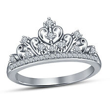 Platinum Plated Round Cut CZ 925 Sterling Silver Ladies Crown Engagement Ring