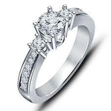 Three Stone Round CZ 925 Sterling Silver Platinum Plated Ladies Engagement Ring