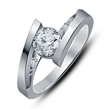 Platinum Plated Round Cut CZ Bypass 925 Sterling Silver Promise Engagement Ring