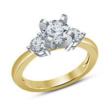 14k Gold Plated 925 Sterling Silver Three Stone Round CZ Ladies Engagement Ring