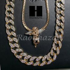 "Iced out 14k Gold PT Angel 5mm Miami Cuban Chain /30"" Iced Out Chain Necklace S3"