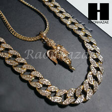 "Iced out 14k Gold PT Angel 5mm Miami Cuban Chain /30"" Iced Out Chain Necklace S6"