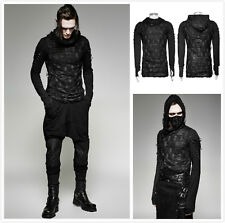 Punk Rave T-438 Mens Steampunk Goth Dieselpunk Double Layers Hole Hooded T-Shirt