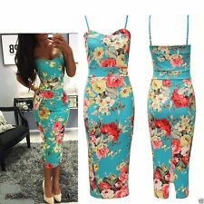 Women Celeb Floral Print Cami Strappy Sleeveless Bodycon Midi Dress Plus Size