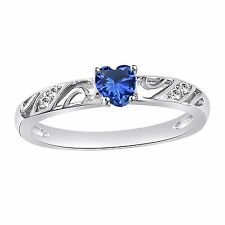 Love Heart Blue Sapphire Platinum Plated 925 Sterling Silver Finger Ring