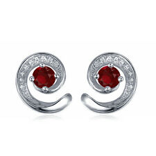14K White Gold Plated 925 Silver Round Cut White/Red CZ Pretty Stud Earrings