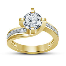 14k Gold Plated 925 Sterling Silver CZ Round Cut Ladies Wedding Engagement Ring