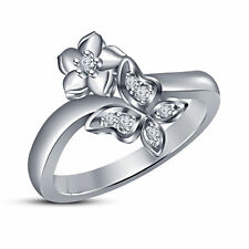 Platinum Plated Round CZ 925 Sterling Silver Flower Wedding Band Engagement Ring