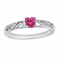 Classic Heart Shape Pink CZ 14k White Gold Over Pure 925 Silver Engagement Ring