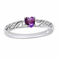 Classic Heart Shape Purple CZ 14k White Gold Plated 925 Silver Engagement Ring