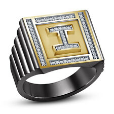 Two Tone Plated 925 Sterling Silver Round Cut White CZ Attractive Men's Ring