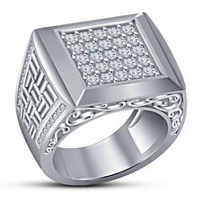 Platinum Plated Round White CZ Wedding Classic Men's Band Ring Pure 925 Silver