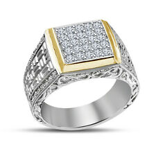 Platinum Plated Men's Round CZ 925 Sterling Silver Wedding Band Engagement Ring