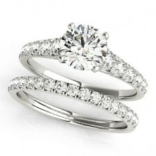 14K White Gold Plated Round Cut CZ 925 Silver Sterling Bridal Wedding Ring Set