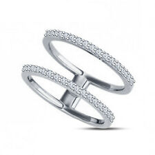 Round Sim.Diamond 14Kt White Gold Finish in 925 Silver Sideways Double Bar Ring